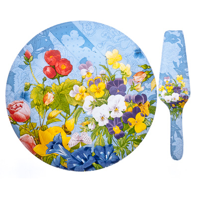 830-253 VETTA Садовые цветы Набор для торта 2 пр. 30см, стекло, S3000/2 PDQ