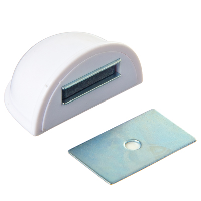 416-082 Стопор дверной, магнитный пластик, металл, 2,5х5см, белый