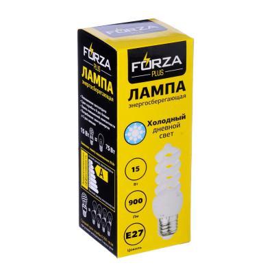 925-019 FORZA Лампа энергосберегающая E27 15W 4100K полн.спираль
