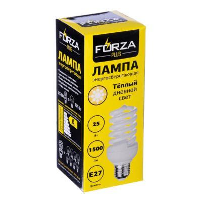 925-022 FORZA Лампа энергосберегающая E27 25W 2700K полн.спираль, трубка Т2