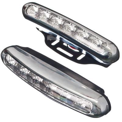 706-039 NEW GALAXY Дневные ходовые огни LED, белый свет, пласт корп, 6 ламп, 150х25мм, компл 2шт, Urban