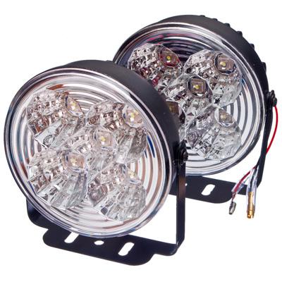 706-043 NEW GALAXY Дневные ходовые огни LED, белый свет, пласт корп, 5 ламп, d100мм, компл 2шт, Hunter