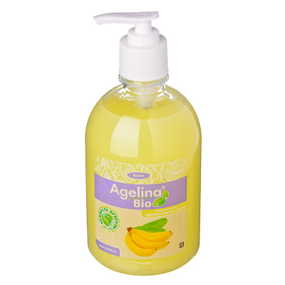 474-052 Мыло жидкое Agelina Bio антибактериальное 500г, п/б с дозатором, банан, арт.АМ-613