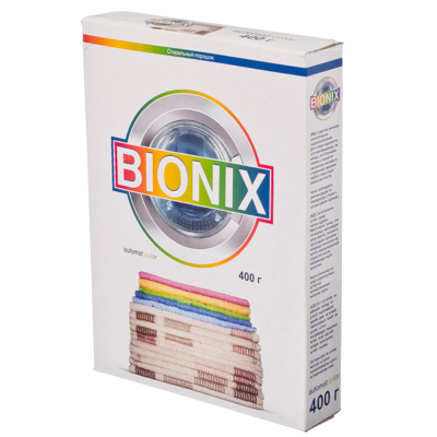 474-067 Стиральный порошок BIONIX 400гр, автомат колор, к/у