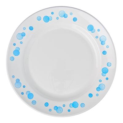 """814-004 Тарелка мелкая фаянсовая 20 см, """"Синий горох"""""""