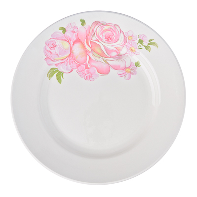 814-008 Розовые розы Тарелка мелкая 17,5см, фаянс, 057