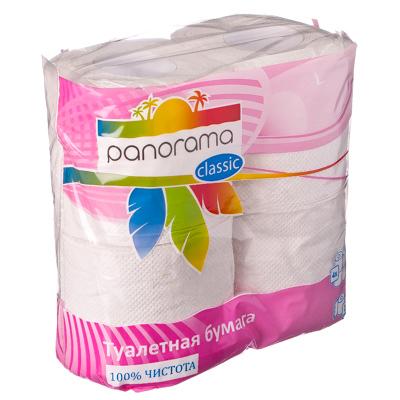 474-074 Туалетная бумага Панорами Классик белая, 2сл., 4 рул.