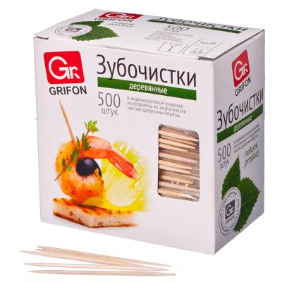 437-166 GRIFON Зубочистки из дерева 500шт, в индивидуальной п/э упаковке, 400-512