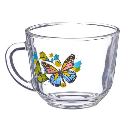 """879-070 ОСЗ Кружка стеклянная, 200мл, """"Танец бабочек"""", 07с1337"""