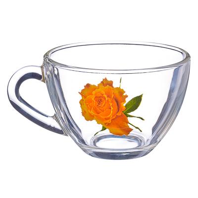 """879-074 ОСЗ Кружка стеклянная, 200мл, """"Роза желтая"""", 08с1416-42"""