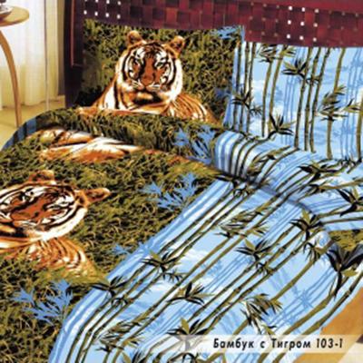"""421-053 КПБ 2-сп, 100% хлопок (пододеял. 178х210, прост. 178х210, навол. 2шт 70х70) """"Бамбук с Тигром"""""""