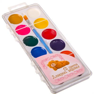 526-305 Плюшевый медведь Акварель медовая с кистью, 12 цветов