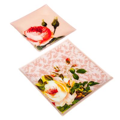 830-259 VETTA Нежные розы Набор блюд квадратных 4пр, 2шт 25,4см+2шт 20см, стекло, S311008/4 H221