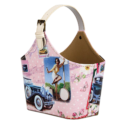 """416-087 Сумка-подставка для мелочей, ПВХ, искусств.кожа, 20х11х15см, """"Девушка и авто"""""""