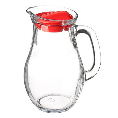 """878-134 PASABAHCE Кувшин 1000мл, с красной пластиковой крышкой, """"Bistro"""", стекло, 80102B"""