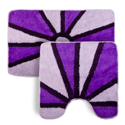 """462-509 VETTA Набор ковриков 2шт для ванной и туалета, акрил, 50x80см + 50x50см, """"Лучи"""" сиреневый Дизайн GC"""