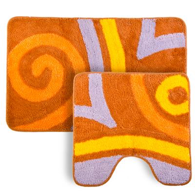"""462-510 VETTA Набор ковриков 2шт для ванной и туалета, акрил, 50x80см + 50x50см, """"Завиток"""" коричневый"""