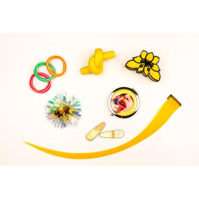 324-070 Заколка-краб для волос, пластик, 8 см, 6 цветов
