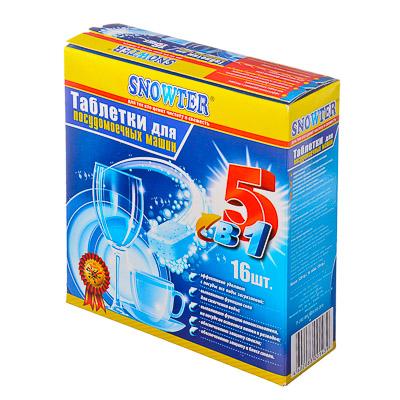 474-109 Средство для мытья посуды в посудом.машинах Snowter  5 в 1, 16 табл x 20гр, к/у