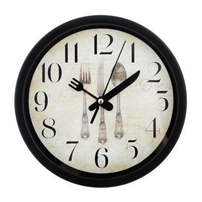 """581-508 Часы настенные, пластик, 20см, 2 вида, 1xAA, """"Столовые приборы"""""""
