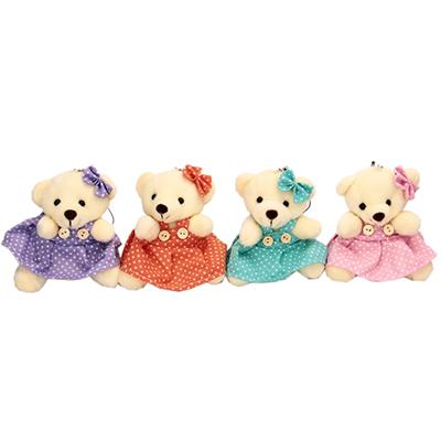 """279-030 Игрушка """"Медвежонок в платье"""", полиэстер, 10х8см, 4 цвета"""