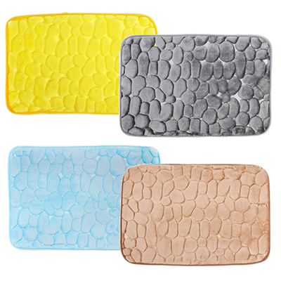 "462-526 VETTA Коврик для ванной микрофибра, губка, 1,2см, 40х60см, ""Камешки"", 4 цвета"