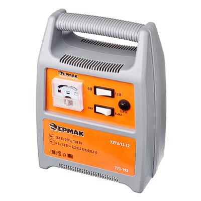 Зарядное устройство трансформаторное автомат, 12A, 6В/12В, пластик корпус