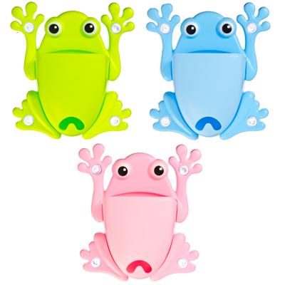 478-060 Подставка для зубных щеток на присоске, пластик, 13х15см, в виде лягушки, 3 цвета
