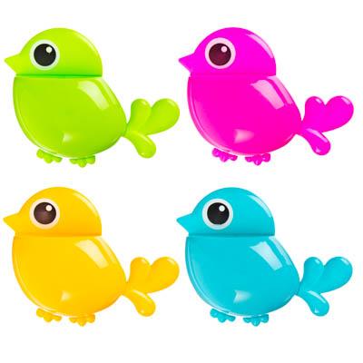 478-061 Подставка для зубных щеток на присоске, пластик, 16х20,5см, в виде птички, 4 цвета