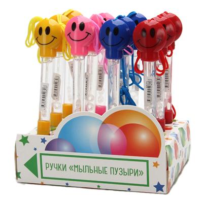 """525-073 Ручка шариковая с мыльными пузырями """"Смайлик"""", 17см, пластик, 6 цветов"""