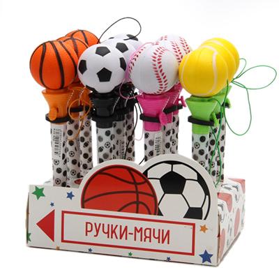 "525-074 Ручка шариковая ""Мяч-попрыгун"" 17см, пластик, 4 вида"