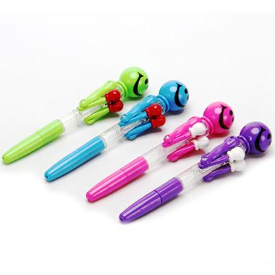 """525-075 Ручка шариковая светящаяся """"Боксер с улыбкой"""" 17,5см, пластик, 6 цветов"""