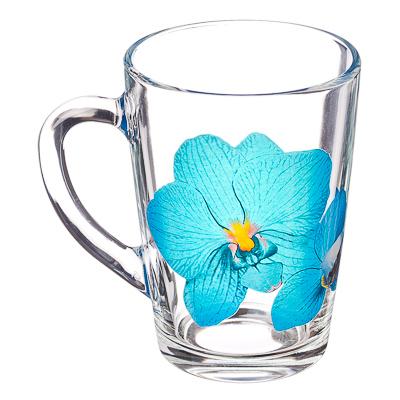 """879-089 ОСЗ Кружка стеклянная, 300мл, """"Орхидея синяя"""", 07с1334-45"""