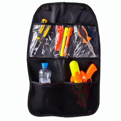771-203 NEW GALAXY Защита спинки сиденья авто от детских ножек, 5 карманов из ткани + прозрачный ПВХ,60х40см