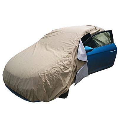 Тент на автомобиль защитный, с молнией (доступ в салон) размер M 432x165x119см, Кольчуга