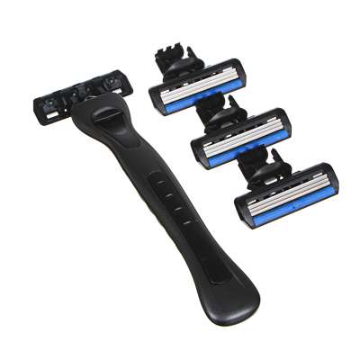 346-011 Станок для бритья с тройным лезвием, плавающая головка + 3 сменные кассеты, силикон, пластик