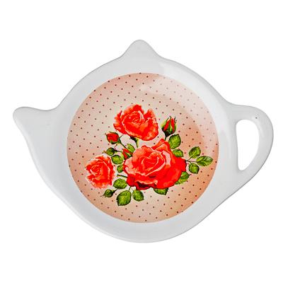"""816-163 Подставка для чайных пакетиков, керамика, 12,5x8x0,96см, """"Майская роза"""", дизайн GC"""