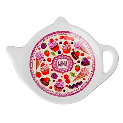 """816-166 Подставка для чайных пакетиков, керамика, 12,5x8x0,96см, """"Меню"""", дизайн GC"""