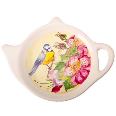 """816-168 Подставка для чайных пакетиков, керамика, 12,5x8x0,96см, """"Синичка"""""""