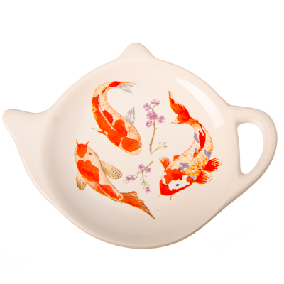 """816-185 Подставка для чайных пакетиков, керамика, 12,5x8x0,96см, """"Японский пруд"""""""
