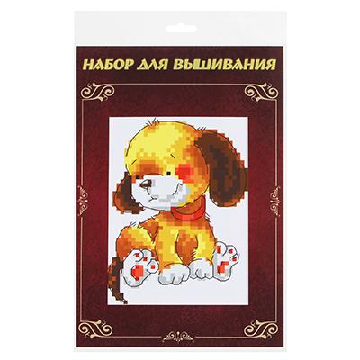 """366-019 Набор для вышивки 14х21см """"Милые животные"""" (канва, нитки мулине, игла), 8 дизайнов"""