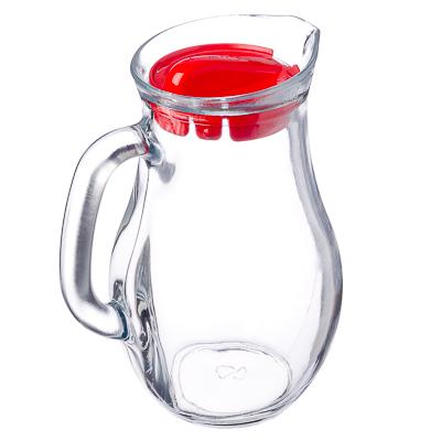 """878-163 PASABAHCE Кувшин 1000мл, с красной пластиковой крышкой, """"Bistro"""", стекло, 80102SLB"""