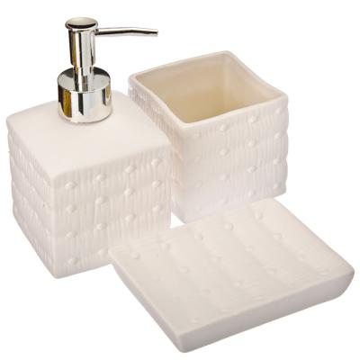 """463-706 Набор для ванной 3 предмета, керамика, белый, VETTA """"Точки"""""""