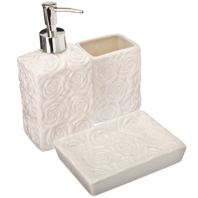 """463-707 Набор для ванной 3 предмета, керамика, белый, VETTA """"Розы"""""""