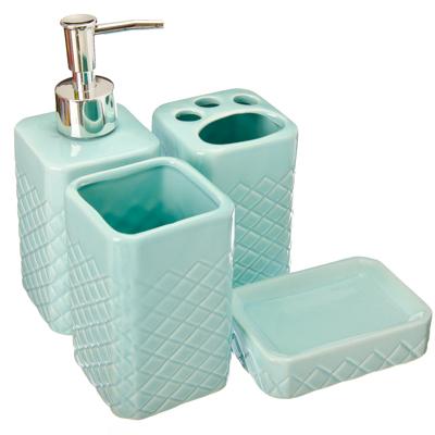 """463-713 Набор для ванной 4 предмета, керамика, голубой, VETTA """"Марокко"""""""