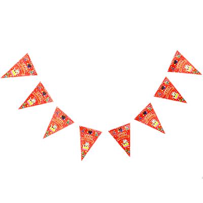 """521-061 Растяжка """"С Днем Рождения"""" бумага, 250x29см, тортик и воздушные шары"""