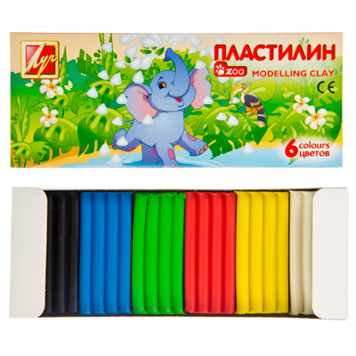 """526-359 Пластилин 6 цветов, 81гр, """"Мини Луч"""", природный воск, в карт.кор, 13,5х5,4х1,7см, арт.19С1271-08"""