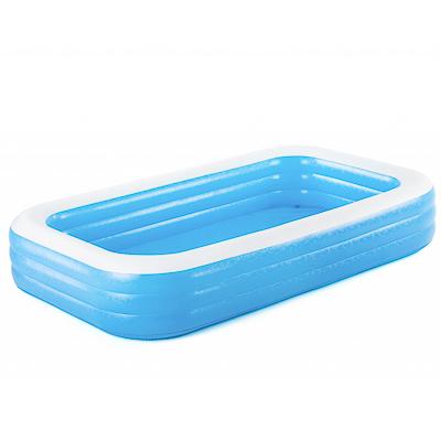 107-090 BESTWAY Бассейн надувной 305х183х56см Blue Rectangular Family Pool Deluxe (54009B) арт.810-234