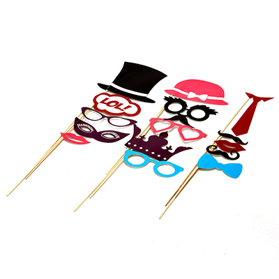 437-207 Набор для вечеринки 15 пр, (декоративные усы, губы, шляпки), пластик, бумага