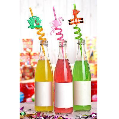 437-224 Трубочки для напитков в виде животных 4шт, пластик, 27см, 6 дизайнов